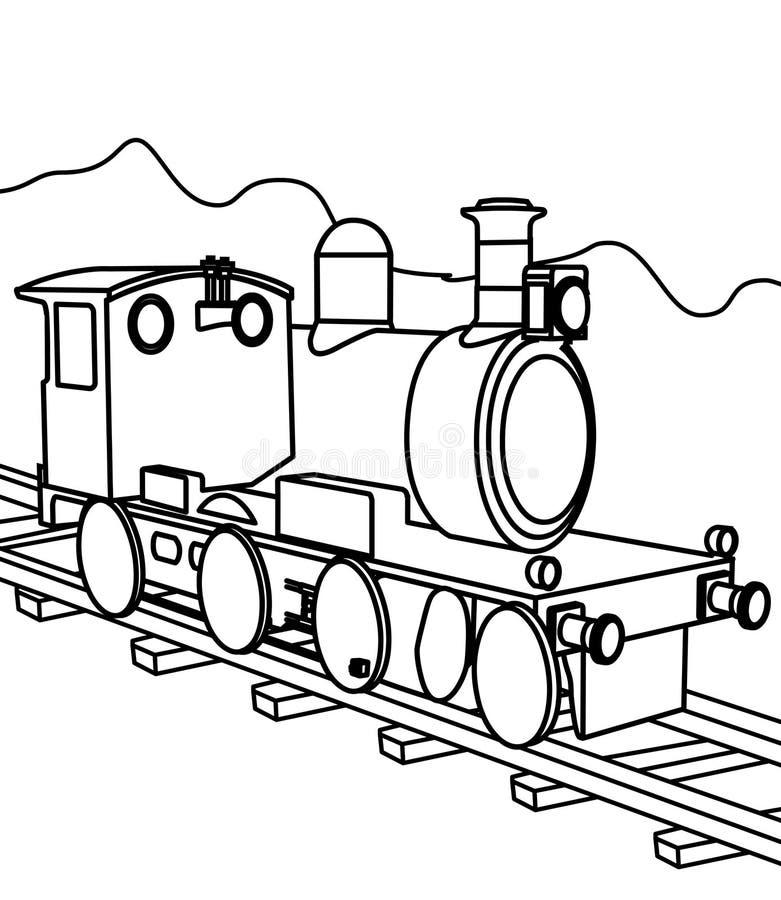 Página del colorante del tren stock de ilustración