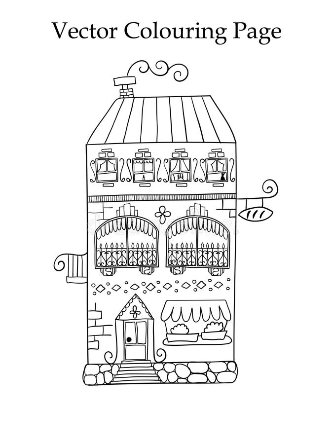 Página del colorante del vector con una casa libre illustration