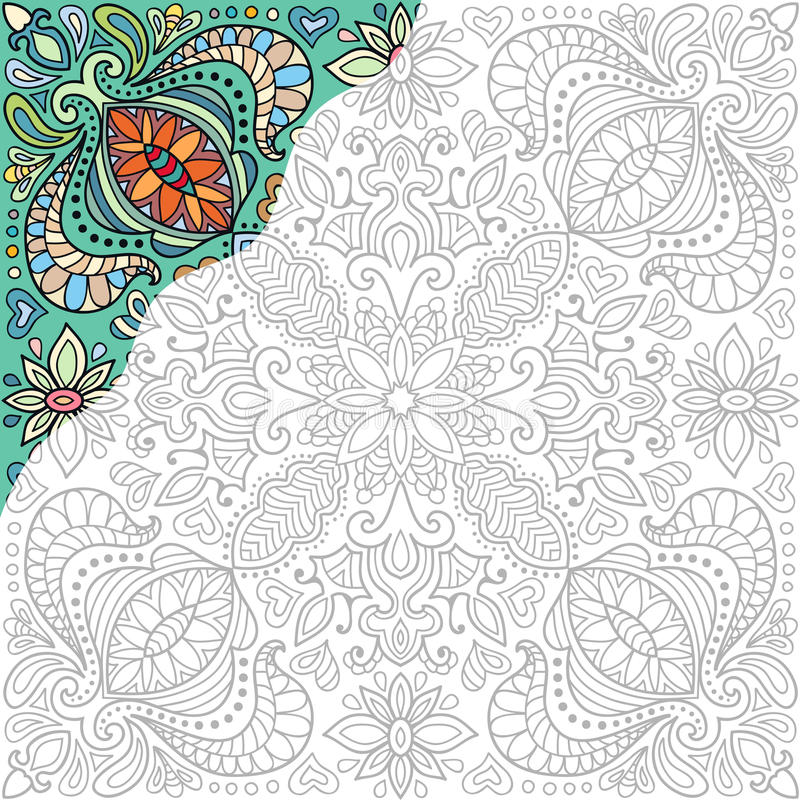 Página Del Cuadrado Del Libro De Colorear Ornamento Floral ...