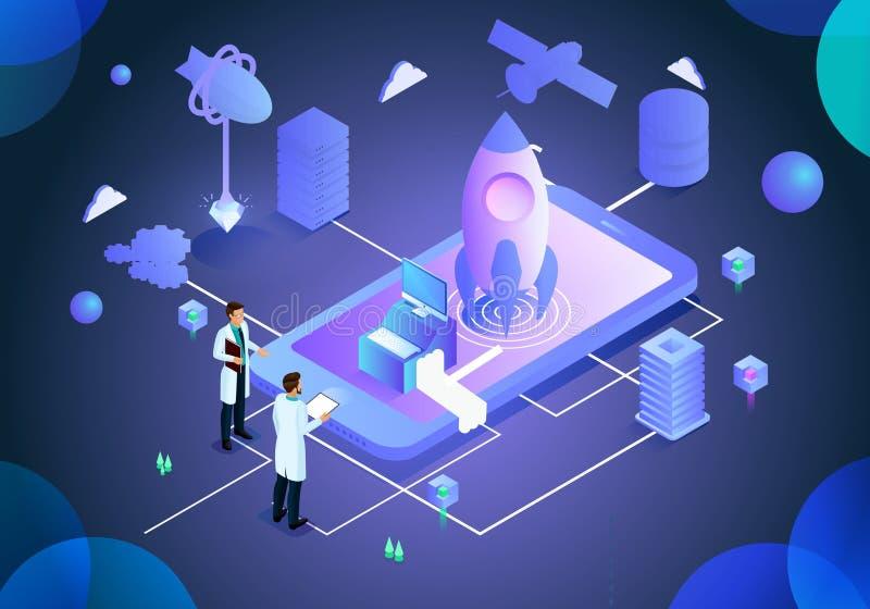 Página del ejemplo de la tecnología del análisis del alza del negocio libre illustration