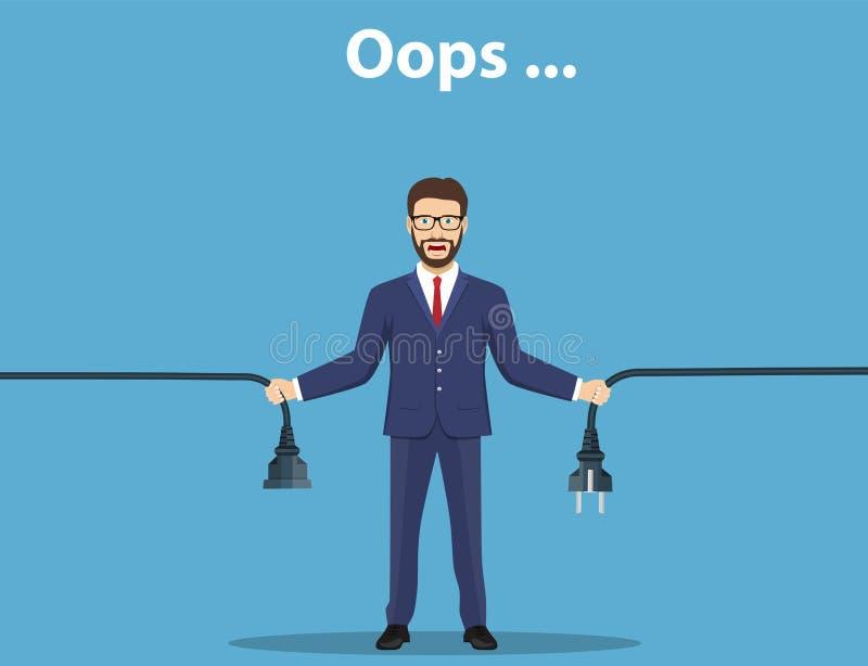 Página del error Cable desenchufado tenencia del hombre stock de ilustración
