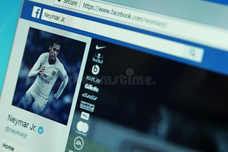 Página del facebook de Neymar fotos de archivo