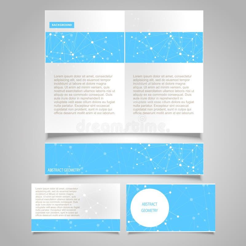 Página del folleto, bandera, plantillas del diseño del vector de la tarjeta de visita con tema molecular abstracto de la conexión stock de ilustración