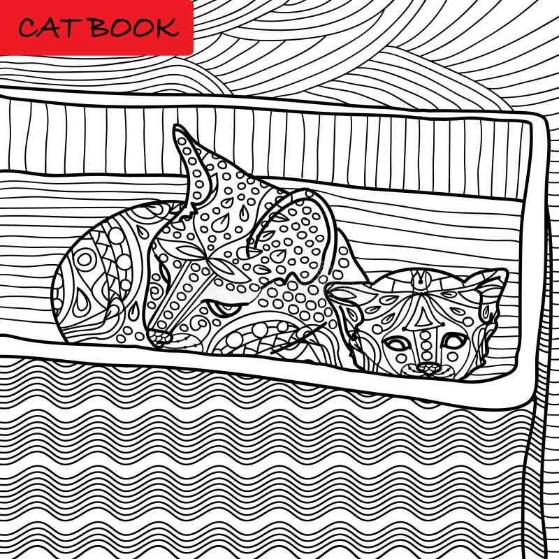Página del gato del colorante para los adultos Gato de la mamá y su gatito que se sientan en una caja Ejemplo dibujado mano con l stock de ilustración