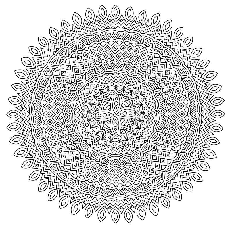 Página del libro de colorear con el modelo redondo detallado ilustración del vector