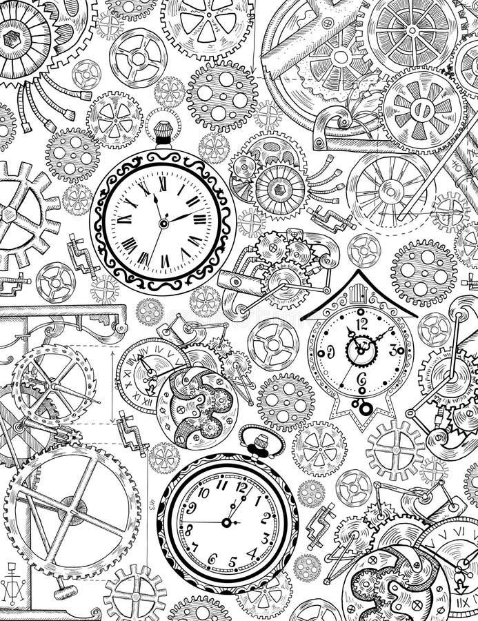 Página del libro de colorear con los detalles mecánicos y los relojes viejos ilustración del vector