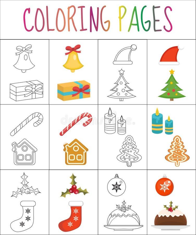 Página del libro de colorear Conjunto de la Navidad Versión del bosquejo y del color para los niños Ilustración del vector libre illustration