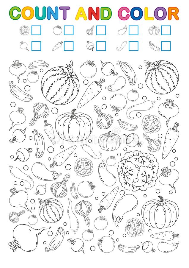 Página del libro de colorear cuenta y color Hoja de trabajo imprimible para la guardería y el preescolar Ejercicios para los núme ilustración del vector