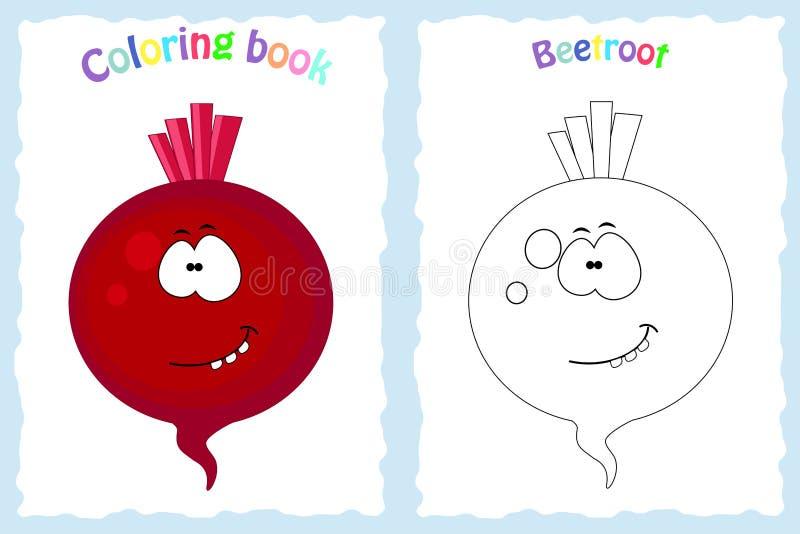 Página del libro de colorear para los niños con remolachas y ske coloridos stock de ilustración