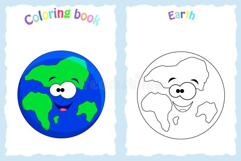 Página del libro de colorear para los niños preescolares con la tierra colorida stock de ilustración