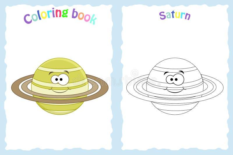Página del libro de colorear para los niños preescolares con Saturno colorido ilustración del vector