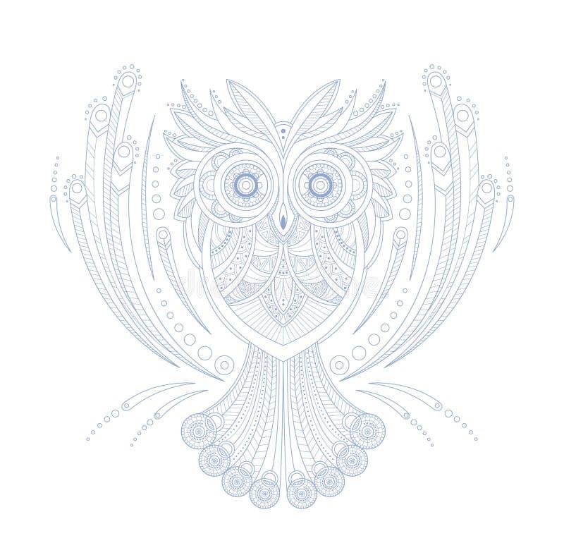 Página Del Libro De Owl Stylised Doodle Zen Coloring Ilustración del ...