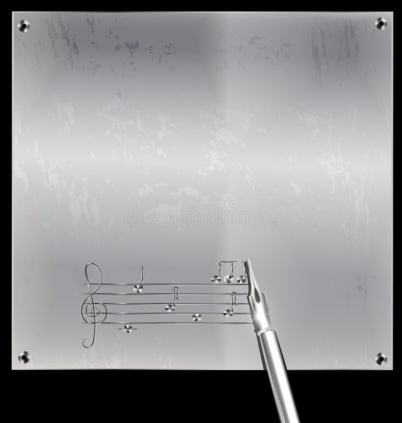 Página del metal con la imagen de la música stock de ilustración