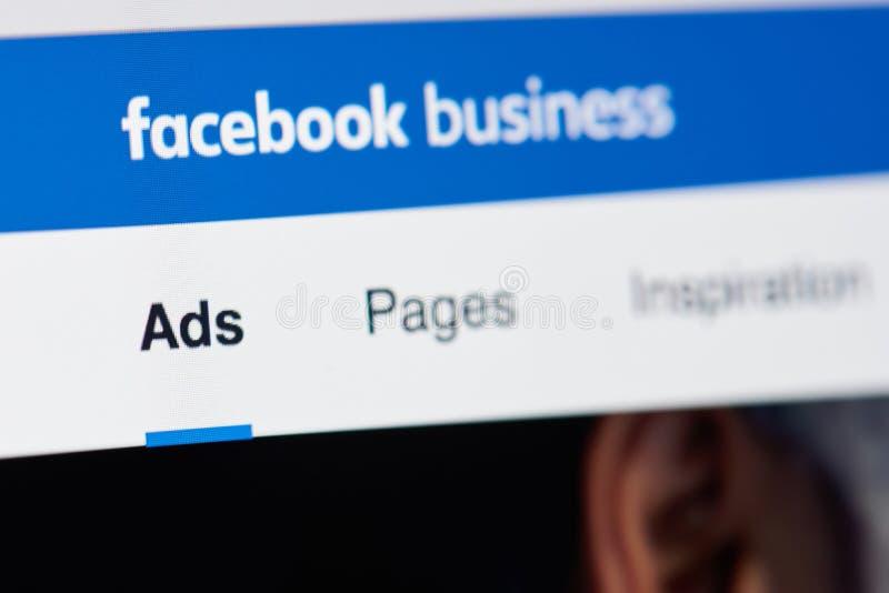 Página del negocio de Facebook fotos de archivo libres de regalías