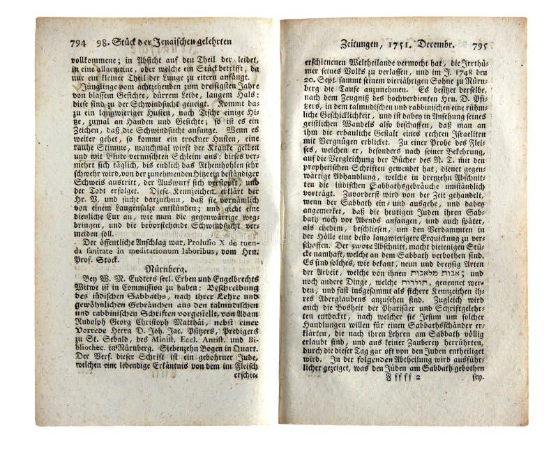 Página del periódico antiguo alemán foto de archivo