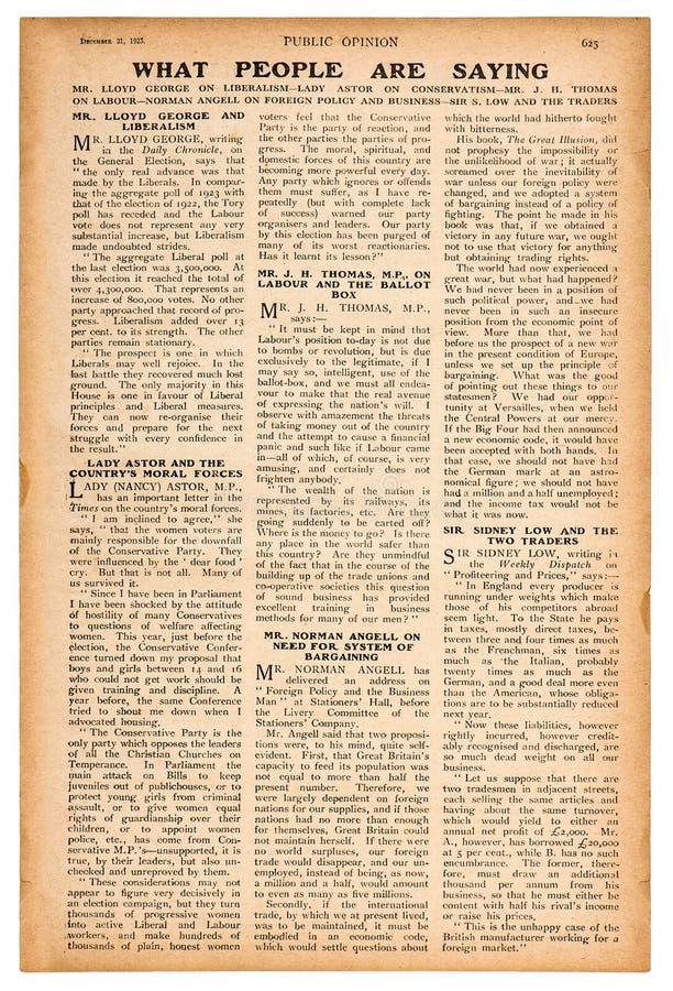 Página del periódico con la revista inglesa del vintage del texto imagen de archivo