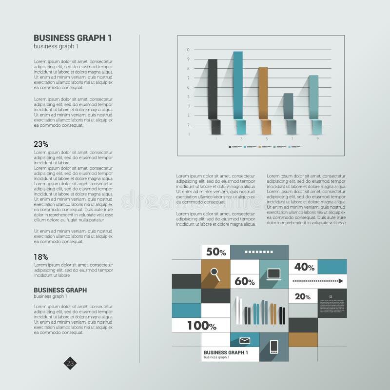 Página del texto de la muestra Gráfico de la información ilustración del vector
