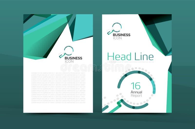 A4 página delantera geométrica, plantilla de la impresión del informe anual del negocio ilustración del vector