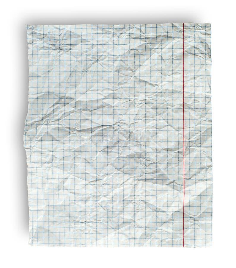 Página desgreñada del cuaderno de la escuela en la célula imágenes de archivo libres de regalías
