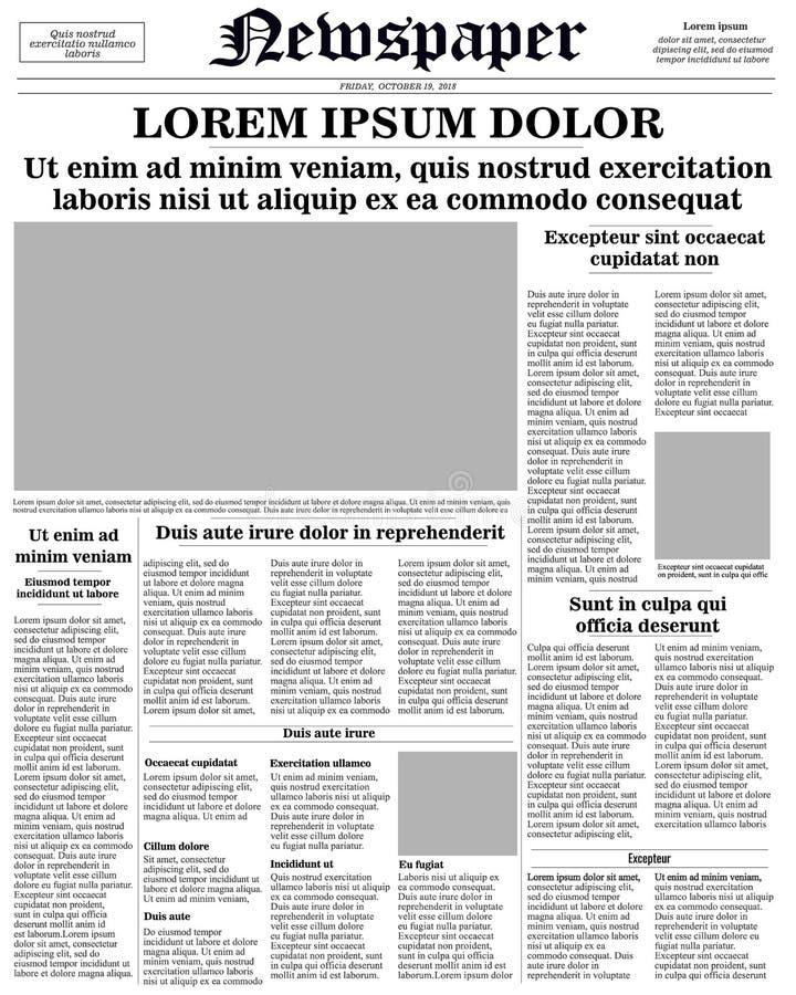 Página dianteira do jornal ilustração royalty free