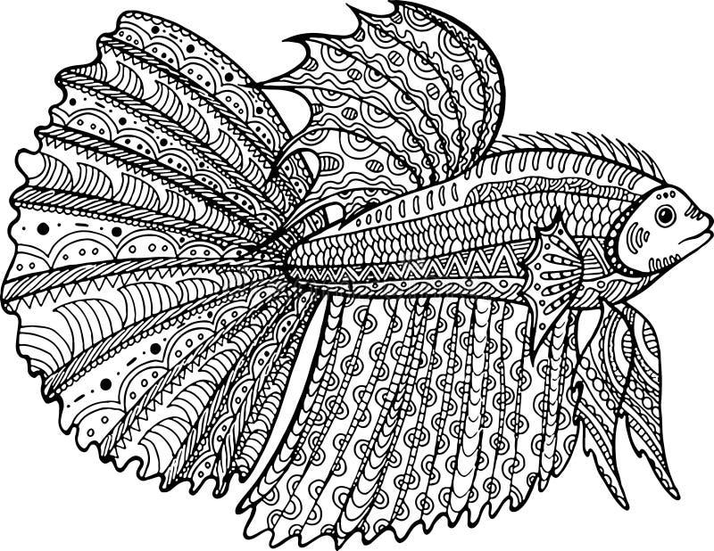 Página dibujada mano del colorante de los pescados de Betta stock de ilustración