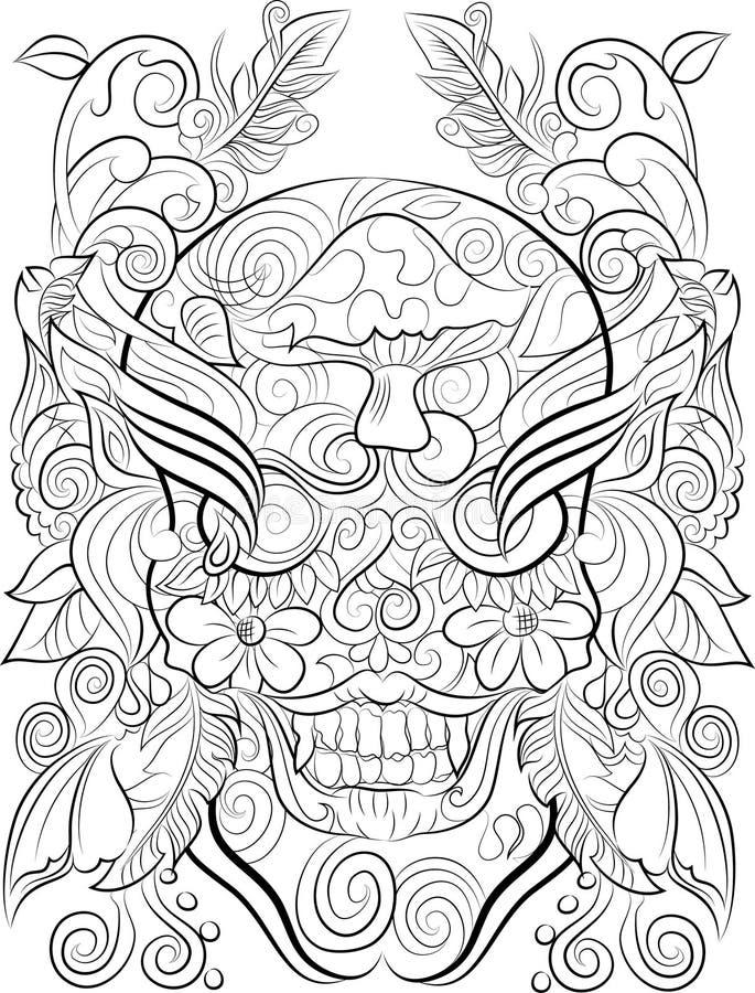 Página dibujada mano del colorante del cráneo para los adultos imagenes de archivo