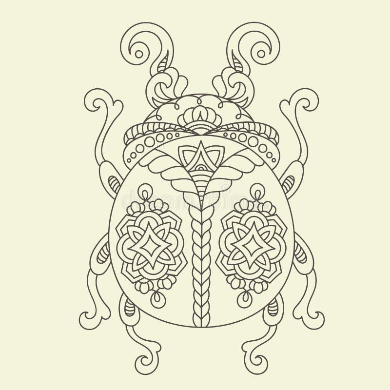 Página dibujada mano del colorante del escarabajo/del insecto libre illustration