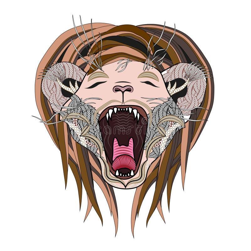 Página dibujada mano del león León del zentangle del rugido stock de ilustración