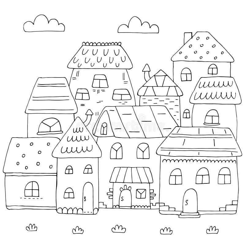 Página dibujada mano para el libro de colorear con muchas casas Una pequeña ciudad linda en montante del garabato Rebecca 36 stock de ilustración
