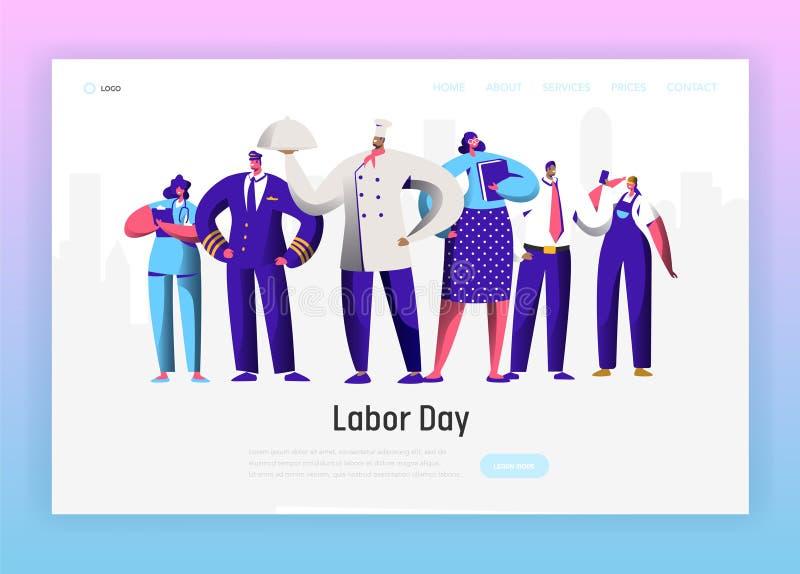 Página diferente da aterrissagem do grupo do caráter da profissão do Dia do Trabalhador Homem e mulher nacionais da celebração do ilustração royalty free