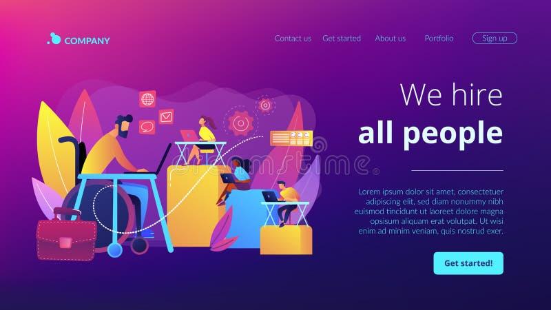 Página discapacitada del aterrizaje del concepto del empleo stock de ilustración