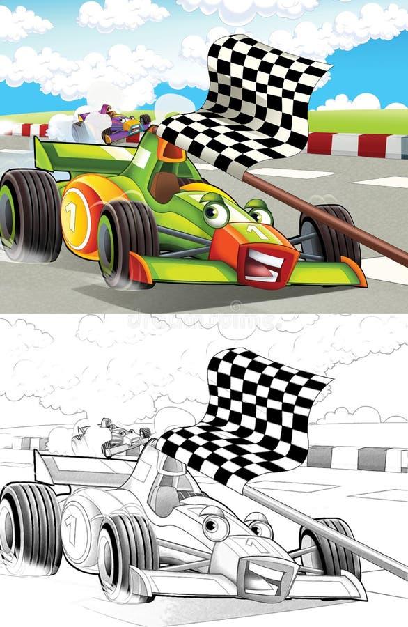 Página diseñada historieta del colorante de la máquina libre illustration