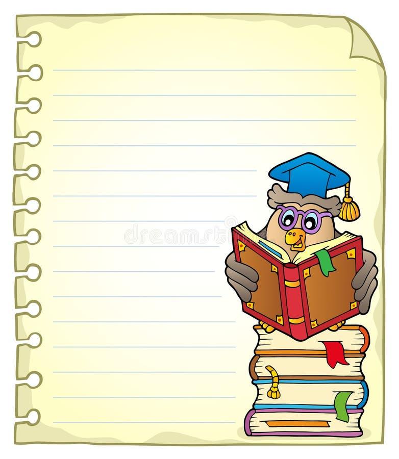 Página do caderno com professor 5 da coruja ilustração do vetor