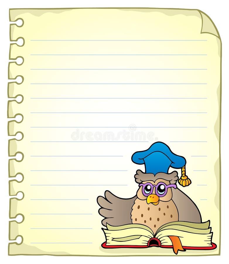 Página do caderno com professor 6 da coruja ilustração stock