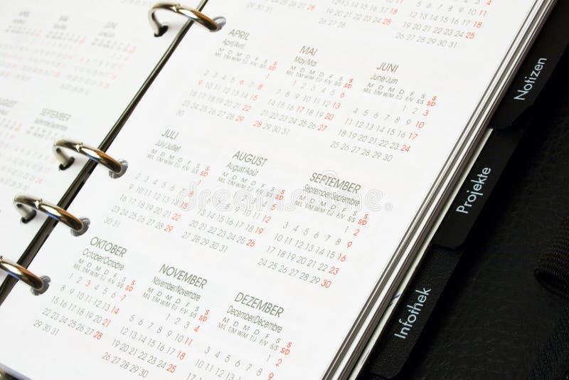 Página do calendário fotos de stock
