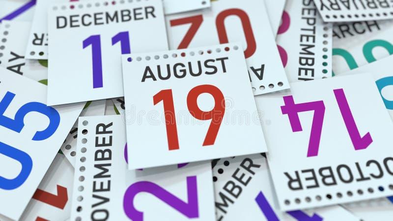 A página do calendário mostra a data do 19 de agosto, rendição 3D ilustração royalty free