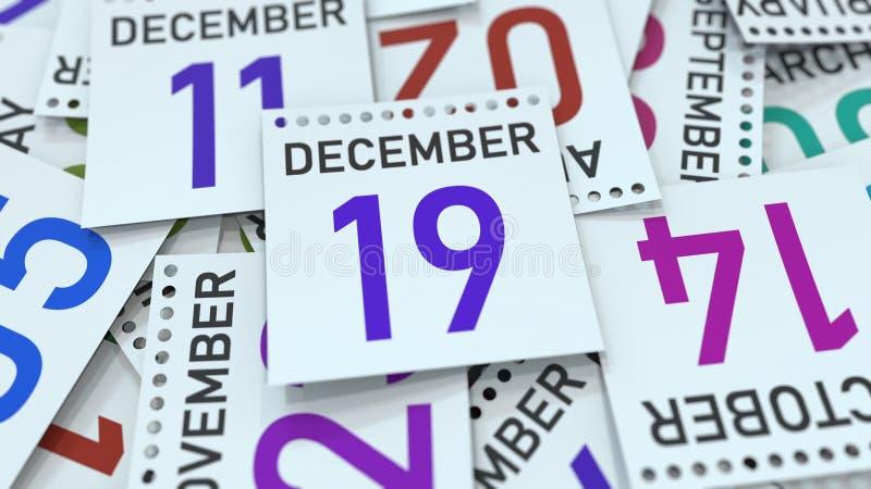 A página do calendário mostra a data do 19 de dezembro, rendição 3D ilustração royalty free