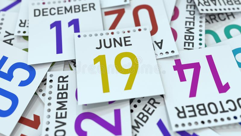 A página do calendário mostra a data do 19 de junho, rendição 3D ilustração stock