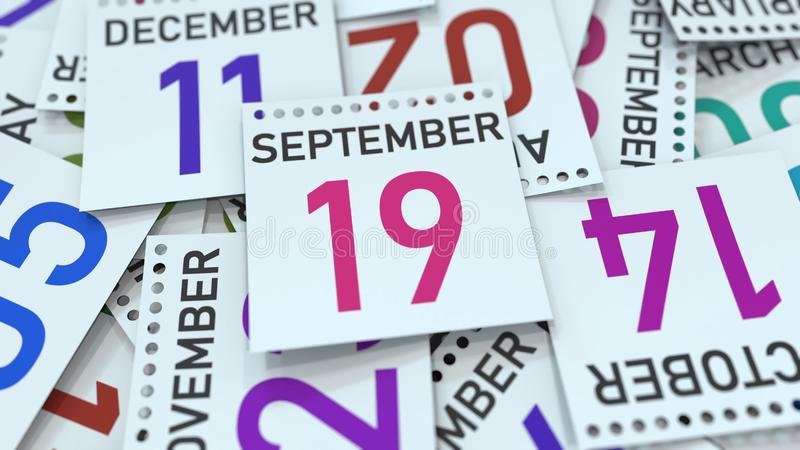 A página do calendário mostra a data do 19 de setembro, rendição 3D ilustração stock