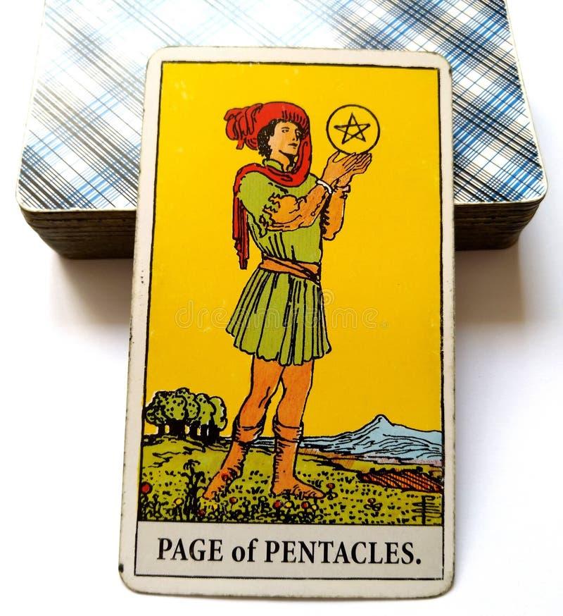 Página do cartão de tarô dos Pentacles que procura/empreendedor alto de pensamento das perspectivas excelentes da abundância do s imagens de stock royalty free