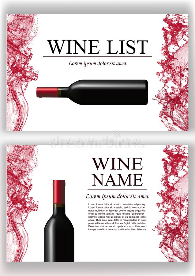Página do compartimento da propaganda, folheto da apresentação do vinho Ilustração de uma garrafa escura do vinho tinto no estilo ilustração do vetor