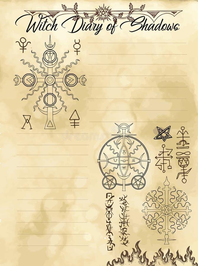 Página 25 do diário da bruxa de 31 ilustração royalty free