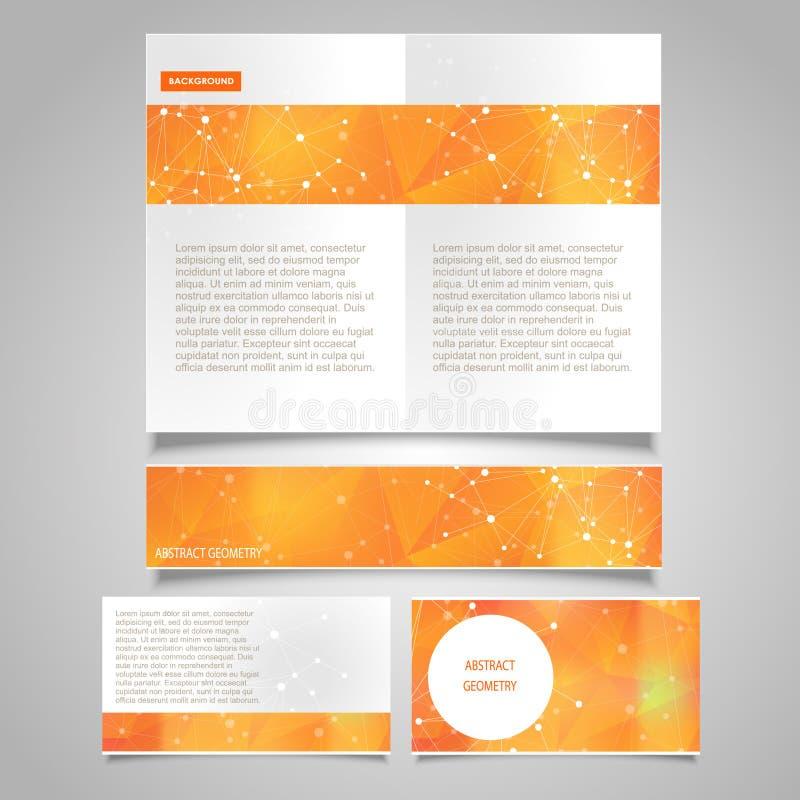 A página do folheto, a bandeira e o vetor do cartão projetam moldes com tema molecular abstrato da conexão ilustração do vetor