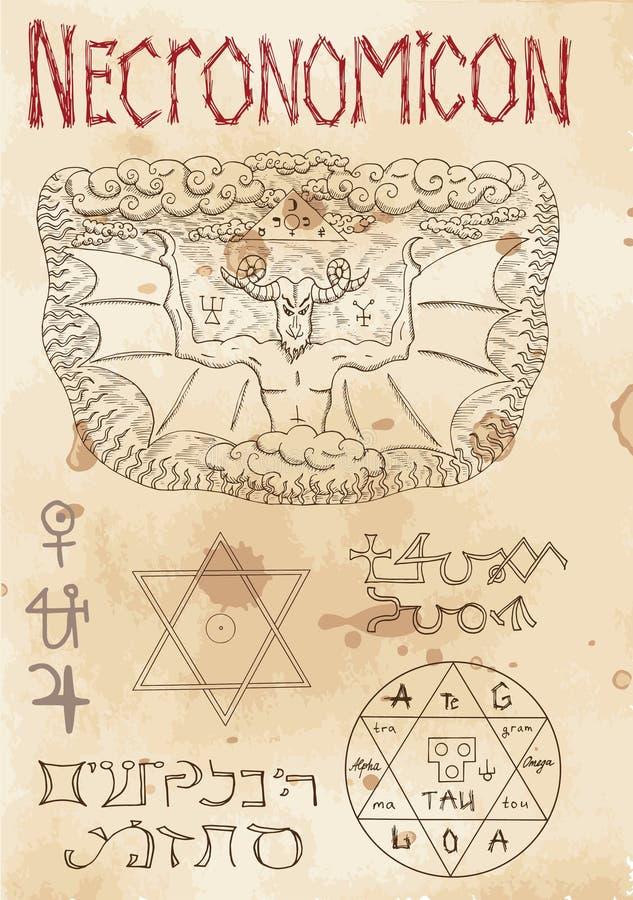 Página do livro Necronomicon da magia negra ilustração stock