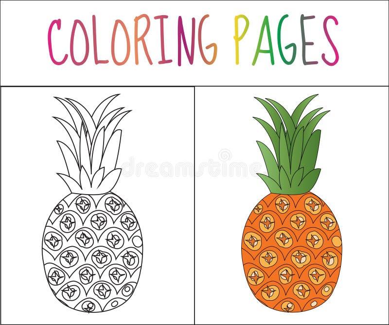 Página do livro para colorir Abacaxi Versão do esboço e da cor coloração para crianças Ilustração do vetor ilustração royalty free