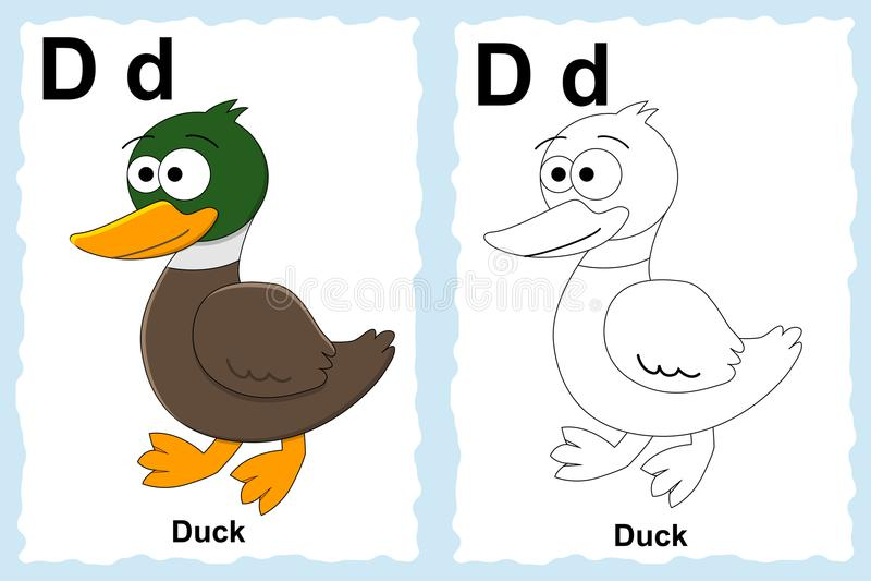 Página do livro para colorir do alfabeto com clipart do esboço à cor Letra D Pato ilustração stock