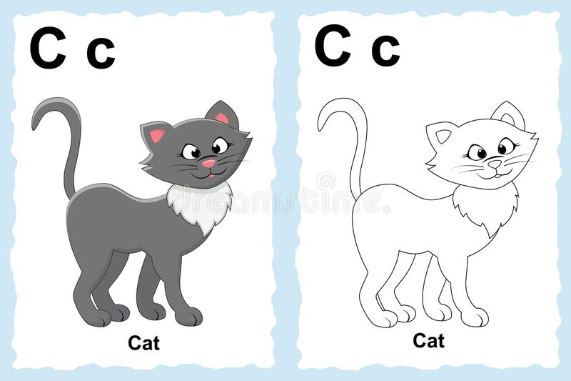 Página do livro para colorir do alfabeto com clipart do esboço à cor Lett ilustração stock