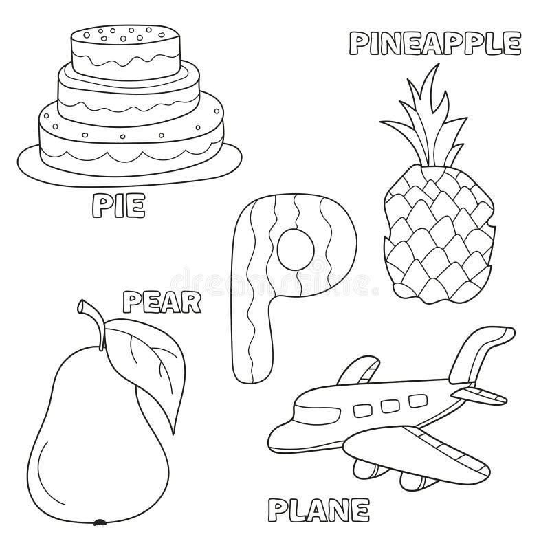 Página do livro para colorir do alfabeto das crianças com clipart esboçados Rotule P ilustração stock