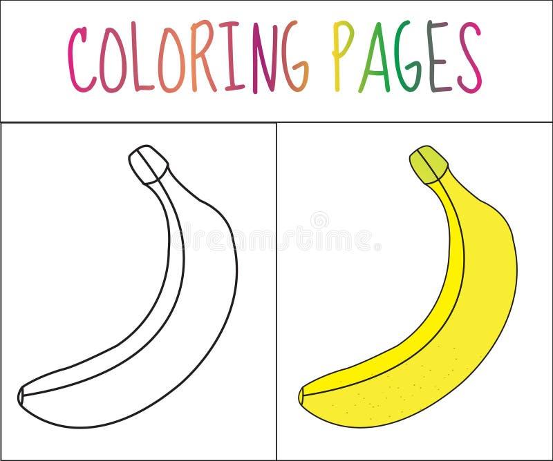 Página do livro para colorir banana Versão do esboço e da cor coloração para crianças Ilustração do vetor ilustração royalty free