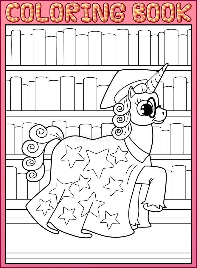 Página do livro para colorir Cavalo mestre do unicórnio da astronomia ilustração do vetor